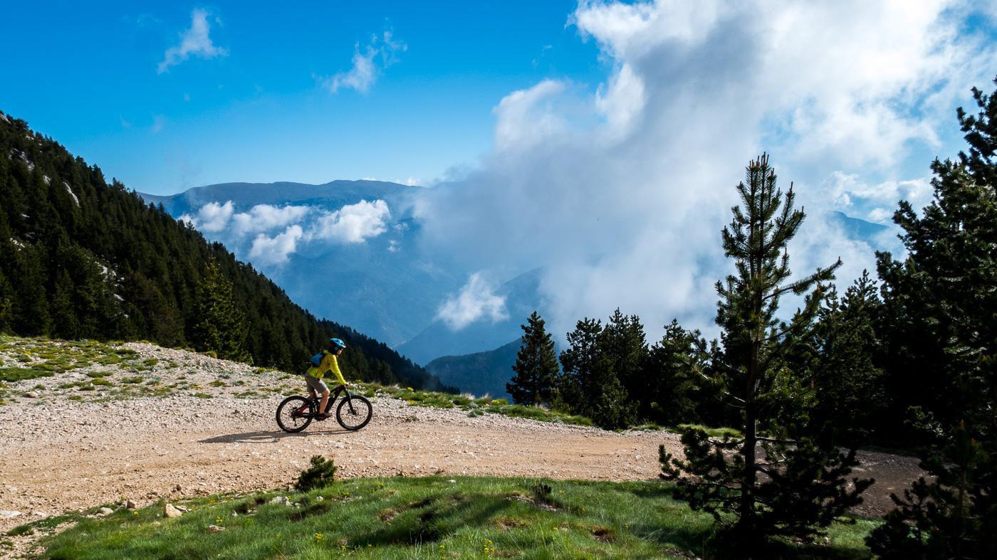 Biker in the clouds